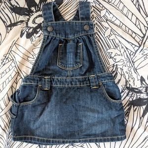 Old Navy Jean Overalls Skirt with Ruffle Bottom